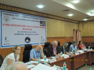 (L-R) Dr Louisa Rahemtulla, Dr Mark Palmer from MRC, Prof Huge Perry from University of Southampton, Dr Mathew Varghese from NIMHANS, Dr DK Shukla and Dr Harpreet Sandhu from ICMR at the plenary session summarizing the discussions at the workshop