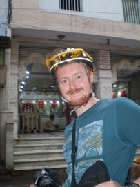 Andrew exploring Delhi on a cycle