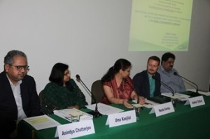 Open Access: Policies and Future Directions Panel. (L-R) Dr. Anindya Chatterjee, Prof. Uma Kanjlal, Dr. Neeta Verma, Mr. Andrew Telford and Mr. Sanjiv Goswami