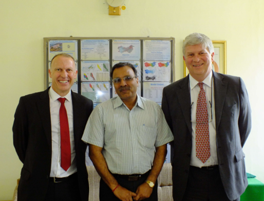 Professor Alan Jenkins (left), Dr S K Jain (centre) and Professor Mark Bailey (right) at the National Institute of Hydrology, Roorkee.