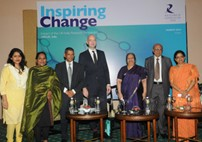 (L-R): Sukanya Kumar-Sinha; Geeny George Shaju; Dr Nafees Meah from RCUK India, Mr Scott Furssedonn-Wood, British Deputy High Commission; Ms Reena Venkatraman Additional Chief Secretary DST; Mr Aloke Mookherjea Chairman Innovation Taskforce CII (EA) and Prof Anuradha Lohia VC Presidency University